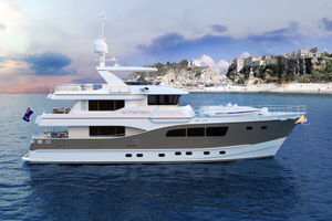 90' Custom Tri Deck Explorer Yacht 2020 Beach view