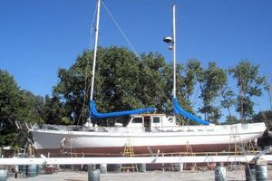 74' Ortholan Argentina Classic Motorsailer Ketch 1939 Refit On Hard, Side View