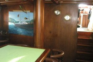 74' Ortholan Argentina Classic Motorsailer Ketch 1939 Dining Area