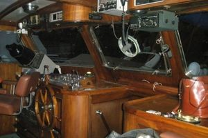 74' Ortholan Argentina Classic Motorsailer Ketch 1939 Lower Wheelhouse Helm