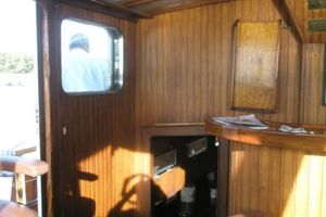 74' Ortholan Argentina Classic Motorsailer Ketch 1939 Wheelhouse From Bar