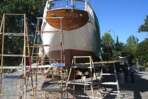 74' Ortholan Argentina Classic Motorsailer Ketch 1939 Refit On Hard, Stern
