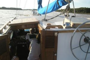 74' Ortholan Argentina Classic Motorsailer Ketch 1939 Upper Steering, Hatch Down