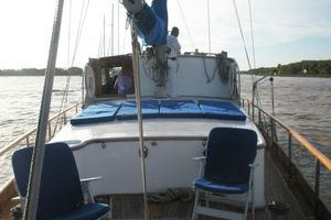 74' Ortholan Argentina Classic Motorsailer Ketch 1939 Aft Deck To Forward