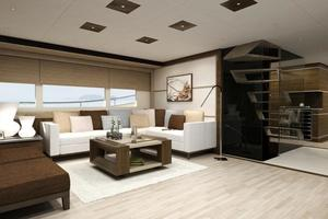 103' Custom Explorer 2021 Saloon looking port forward