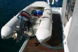 50' Voyage 500 2010 Dinghy on custom extended dive platformm