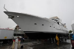 92' Broward Raised Pilothouse Motor Yacht 1988 Profile out of water
