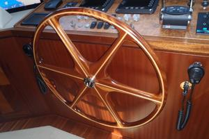 90' Ocean Alexander Sky Lounge 2013 Helm Station Teak Wheel