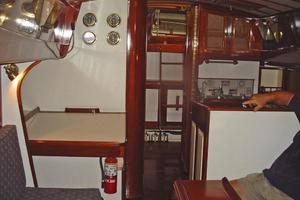 44' Cherubini 44 Ketch 1986 Main Salon looking aft to Aft Cabin and Companionway