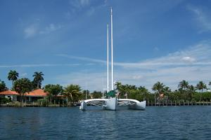 55' Chris White Juniper 2 Trimaran 1989 At Anchor Bow View