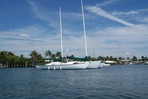 55' Chris White Juniper 2 Trimaran 1989 At Anchor Stbd View