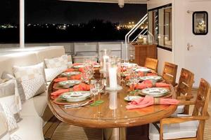 134' Abeking & Rasmussen SWATH 2008 Aft Deck Dining
