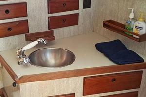 40' Bristol 40 sloop 1972 Head w/Stainless Steel sink, drawers, storage