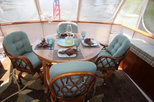53' Hatteras 53 Motor Yacht 1973 Aft Deck Dining Table