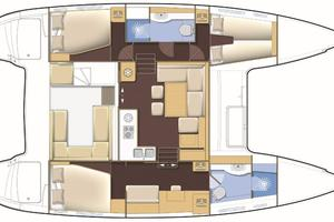 40' Lagoon 400 S2 2018 Manufacturer Provided Image: Lagoon 400 S2 3 Cabin 2 Bathroom Layout Plan