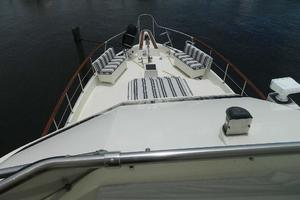 60' Hatteras Motor Yacht 1989 Foredeck from Flybridge