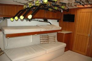 45' Gillikin Custom Carolina 45 Express 2009 Salon L Shaped Settee with Upper Bunk Up