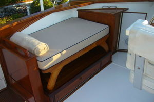 57' Trumpy Cpmy 1960 Portside seating in Flybridge